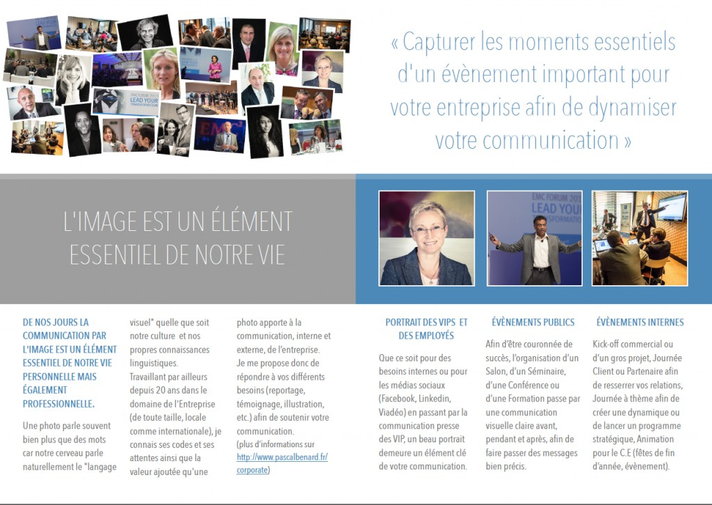Brochure Photographie Corporate - Pascal Bénard Photographies - verso